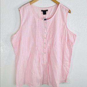 Preswick & Moore Blouse Plus 2X Pink Sleeveless